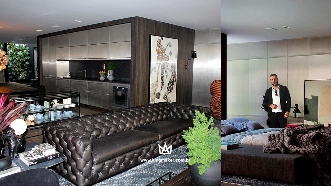 Alexsandro Kingmaker visita o ambiente casa_dezesseis projetado por Sálvio Júnior e Moacir Júnior para CASACOR SP 2018