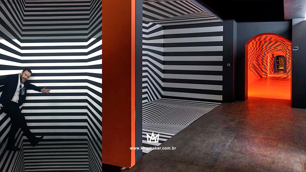 Alexsandro Kingmaker visita o ambiente Galeria Anamórfica projetado por José Luiz Favaro para CASACOR SP 2018